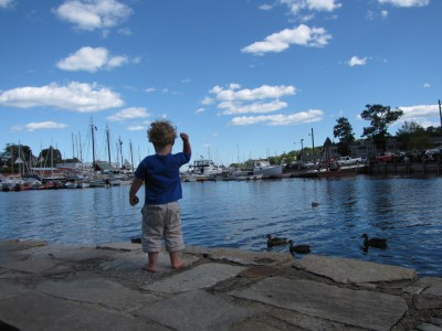Harvey throwing rocks into Camden Harbor