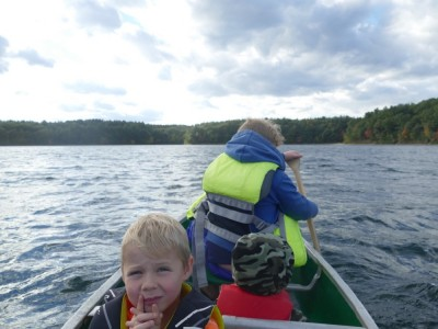 in the canoe on breezy Walden Pond