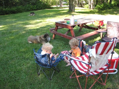 Zion and Harvey sitting on camp chairs, Rascal on the ground