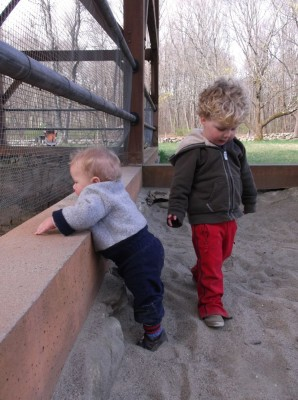 boys playing in a sand pit