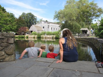 the rest of the family getting up close to a pond in historic Sandwich