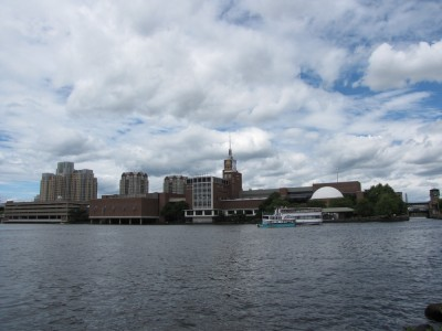the Boston museum of science, seen from the banks of the river