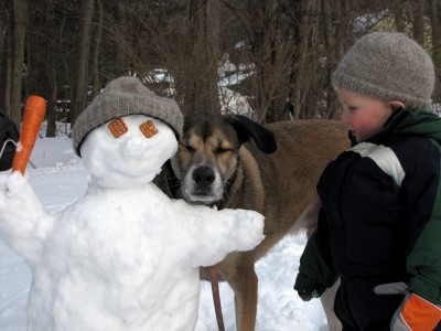 Harvey and Rascal with our snowman