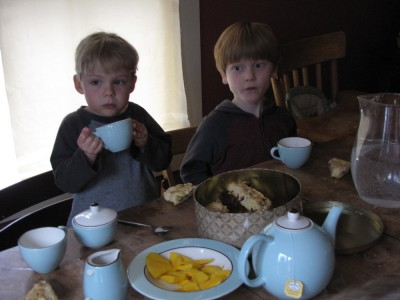 Zion and Nathan sitting at the table for tea, looking serious