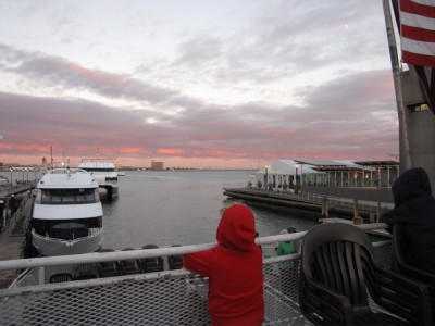 Harvey looking aft towards the pink sky over Logan Airport