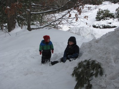 Harvey and Lijah sitting in the big snow