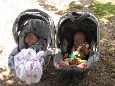 Zion and his friend Nathan sleeping outside in their carseats