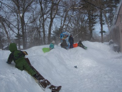 the neighborhood kids sledding on a plow pile