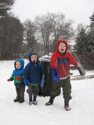 Lijah, Zion, and Harvey posing in the snow