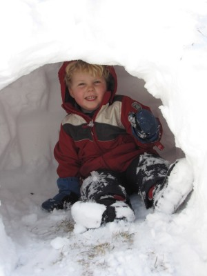 Harvey in a snow cave