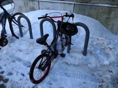 Harvey's bike in a snowy bike rack