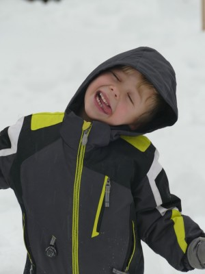 Zion making a silly face in Sunday's snow