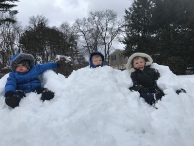 Lijah, Natalie, and Henry buried in snow