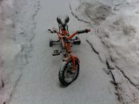 Harvey's bike on the front walk well-dusted with snow
