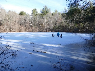 the boys walking on the ice at the Old Reservoir