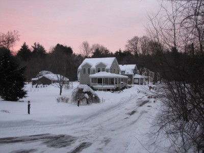 our snowy yard at sunrise