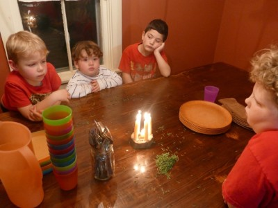 Zion, Harvey, and friends looking seriously at candles on the table