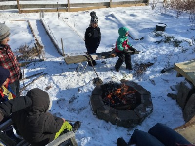 kids around a fire