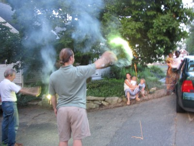 Uncle Tom and Granpa giving everyone a sparkler show