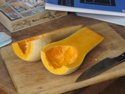 butternut squash, halved and seeded