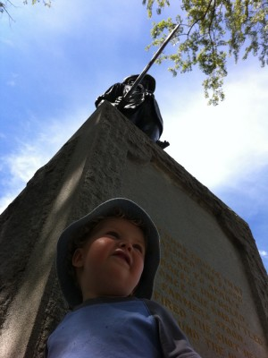 Harvey beneath the Concord Minuteman statue