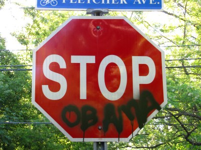 anti-Obama grafitti on a stop sign