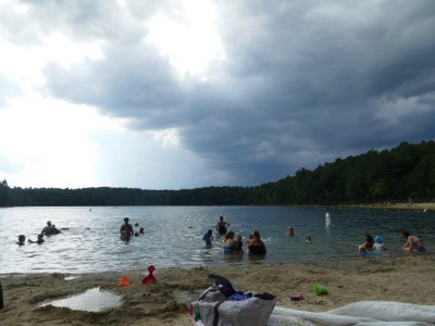 storm clouds over Walden Pond