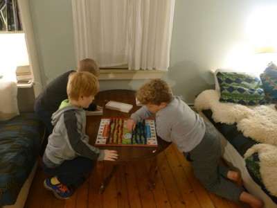 Harvey, Zion, and Nathan playing Stratego