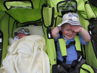 Harvey and Zion in the double stroller