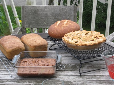 breads, a pie, and brownies on the table outside
