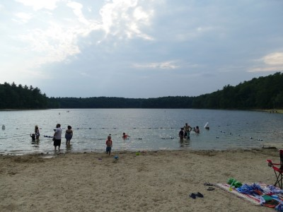 the late-afternoon beach at Walden pond