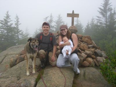 the four of us atop South Bubble in the fog