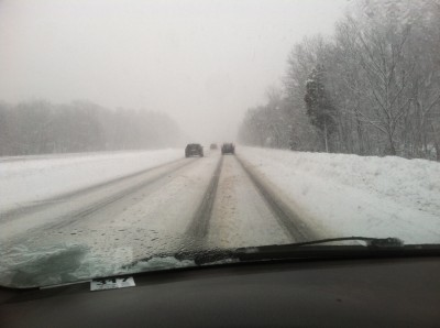 snowy conditions on Rt 128