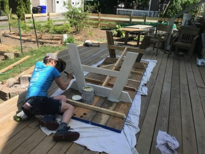 Leah painting the new picnic table