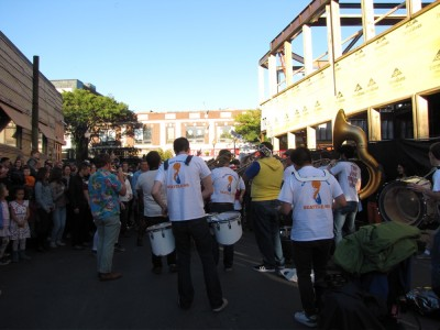 the Ten Man Brass Band, from behind