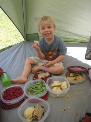 picnic in the tent: Zion with our nice array of food
