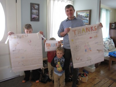me and the boys holding up our Thankful posters (and a squash)
