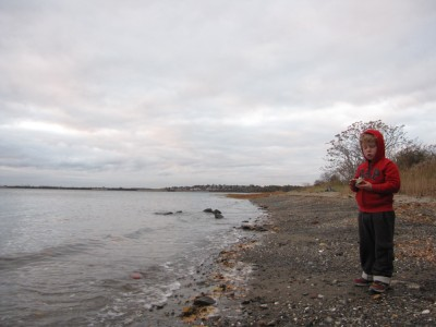 Harvey on the gravel beach of Thompson Island around sunrise