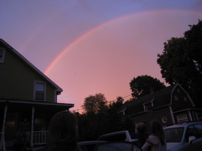 sunset rainbow after a thunderstorm