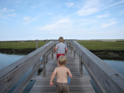 Harvey and Zion heading down the boardwalk bridge towards the dunes