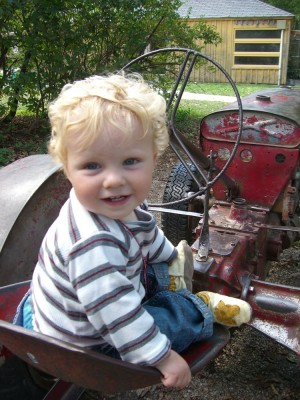 harvey on a tractor at drumlin farms