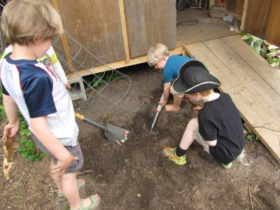 Zion and friends digging by the shed