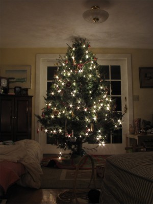 the mostly-decorated Christmas tree
