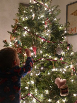 Lijah reaching to hang an ornament on the Christmas tree