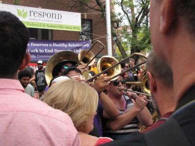 trombones in a crowd