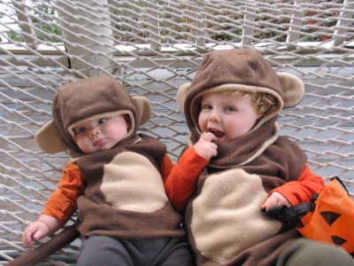 Harvey and Zion in their monkey suits on the hammock