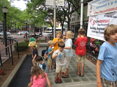 kids eating ice cream in Davis Square