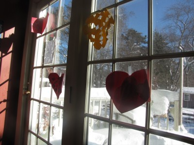 Valentine cards and snowflakes on our back door