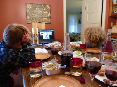 our table for the virtual seder with Leah's parents