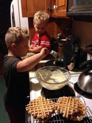 Harvey making waffles for Lijah